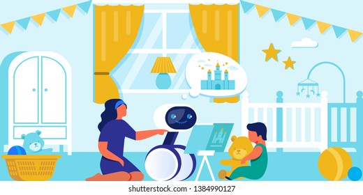 Happy Child and Mom Playing with Household Robot Helping Young Family Resting in Free Time, Reading Book to Little Baby instead of Mother in Child Room, Robotics, AI. Cartoon Flat Vector Illustration