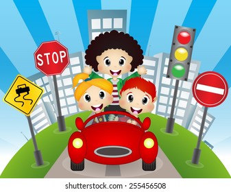 Happy Child on a car with city background and traffic sign