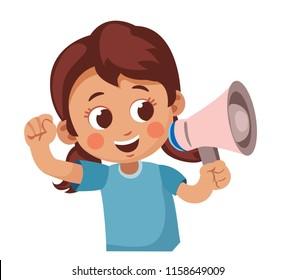 happy child screaming into a megaphone. Cartoon vector illustration