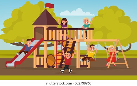 Happy childhood. Children play on the playground. Vector illustration