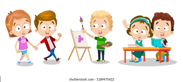 Happy childhood and creative kids activity set. Little boy painting with watercolor paints and art brush. Children holding hands and walking. Preschool pupils personages at lesson vector illustration.