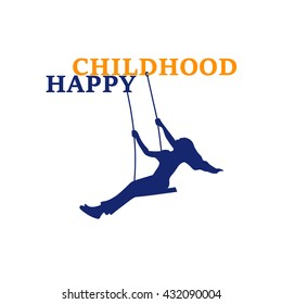 Happy childhood logo. Playground logo. The Girl in a Swing. Playing for Kids. Logo Template.