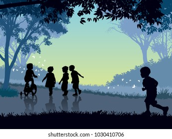 Happy childhood time. Happy children playing in park, spending time on summer nature.
