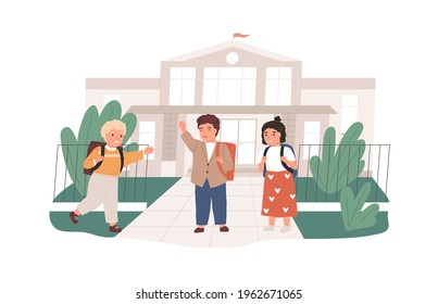 Happy children with backpacks meeting near school building. Girls and boys greeting each other. Elementary pupils with schoolbags. Colored flat vector illustration isolated on white background