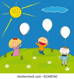 Happy children with balloon on meadow