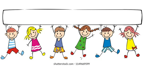 Happy children and banner, group of cheerful kids on white background, vector funny illustration. Colored creative illustration. Funny clipart.