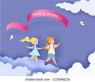 Happy children boy and girl run back to school with flag. Paper cut design Vector illustration