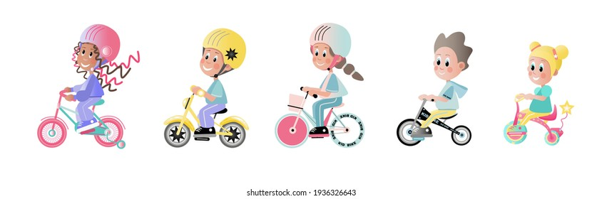 happy children, boys and girls ride colorful bicycles in sports uniforms and helmets. Vector illustration isolated on a white background.