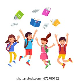 Happy children boys, girls throwing books up in air celebrating last school day. Student kids group with backpacks jumping raising hands above head. Flat vector illustration isolated on white.