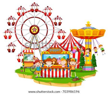 happy children circus illustration のベクター画像素材 ロイヤリティ