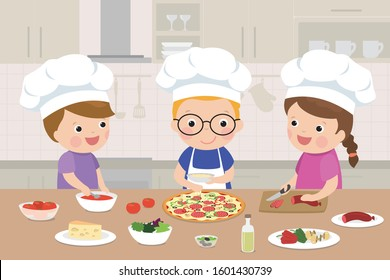 Happy children is cooking pizza in the kitchen. Kitchen interior with furniture on background. Fast food and traditional italian cuisine. Cartoon caucasian kids together near table.Vector illustration
