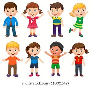 Happy children in different positions vector illustration