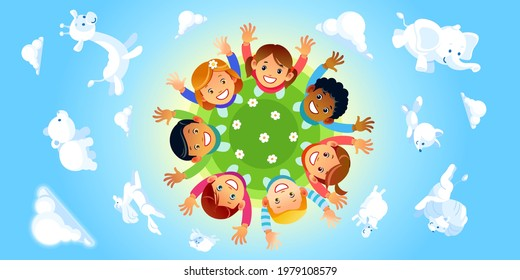 Happy children of different races hands up around the Globe as a symbol for international unity and peace on blue background with different funny clouds animal shaped. Cartoon vector illustration.