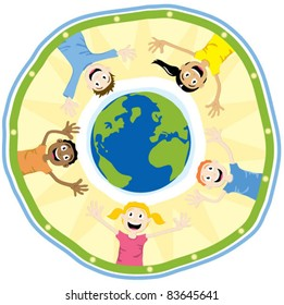 Happy children encircling the Earth.