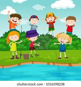 Happy children fishing in the park illustration