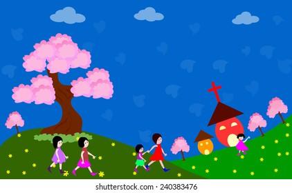 Happy children going to church -vector illustrations