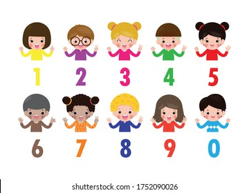 happy children hand showing the number zero one two three four five six Seven eight nine kids showing numbers 0-9 by fingers. Education concept, cute Kids learning material vector illustration