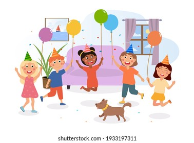 Happy children having fun at the party. Smiling kids jumping with confetti and baloons. Little dog is running with little boys and girls. Childrens birthday party. Flat cartoon vector illustration