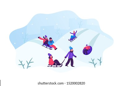 Happy Children Having Fun Sledding on Tubing and Sleds Downhill During Winter. Christmas and New Year Holidays. Wintertime Outdoors Activity Vacation Spare Time. Cartoon Flat Vector Illustration