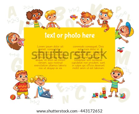 Happy children holding blank poster. Template for advertising brochure. Ready for your message. Kids look up with interest. Funny cartoon character. Vector illustration. Isolated on white background