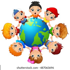 Happy children holding hand on around the earth.Vector illustration