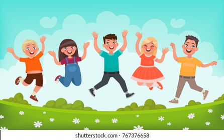 Happy children are jumping. Concept of carefree childhood and joy. Vector illustration in cartoon style
