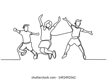 Happy children jumping continuous line drawing minimalist design one hand drawn isolated on white background