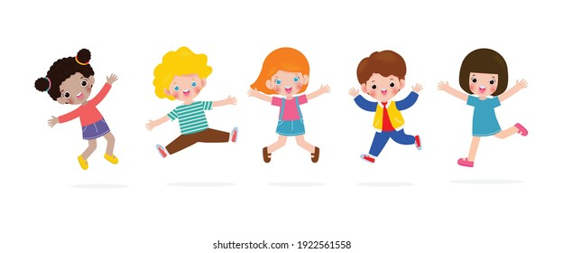 Happy children jumping and dancing on the park, kids activities,  children playing in playground, Template for advertising cartoon character design isolated on white background Vector Illustration