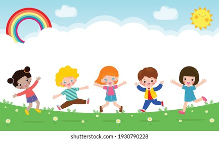 Happy children jumping and dancing together on the park, kids activities, children playing in playground, Template for advertising brochure,your text, flat Funny cartoon isolated vector Illustration