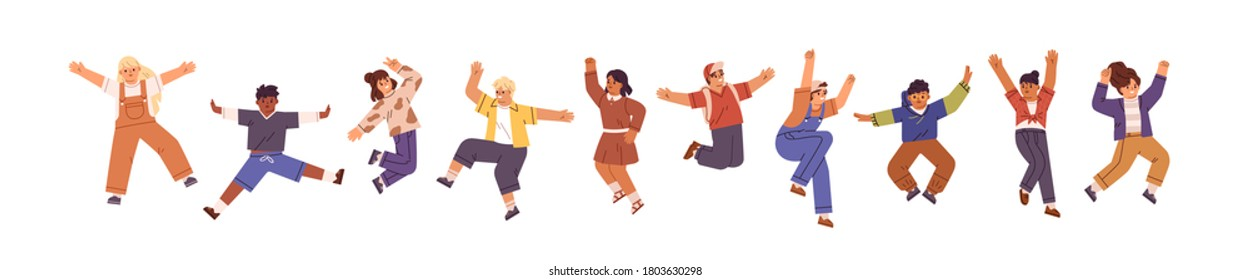Happy children jumping with raised hands. Different pre teen or teenage energetic kids in motion. Active classmates or schoolchildren having fun. Flat vector cartoon illustration isolated on white