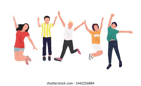 Happy children jumping up, concept of childhood, flat style, isometric people