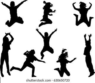 Happy children jumping - vector