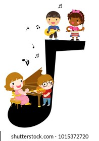 Happy children and music