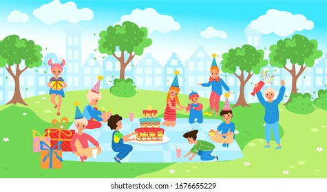Happy children on picnic, celebrating birthday in summer park, vector illustration. Cheerful kids in party hats, present boxes and birthday cake. Cute boys and girls cartoon characters at park picnic