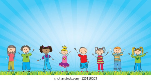 happy children over natural background vector illustration