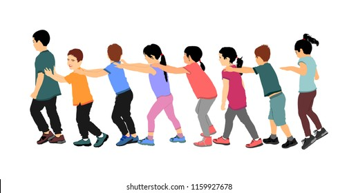 Happy children play train game vector illustration isolated on white background. Group of teens running in the park kids, boys and girls, plays a train game by holding shoulder of the ahead child.