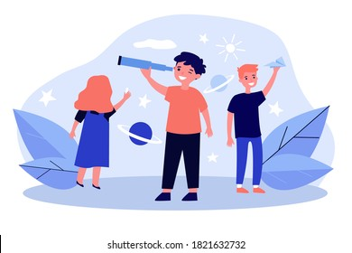 Happy children playing and exploring universe. Telescope, fun, planet flat vector illustration. Education and study game concept for banner, website design or landing web page