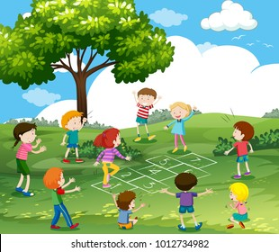 Happy children playing hopscotch in park illustration