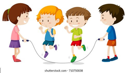 Happy children playing jumprope illustration