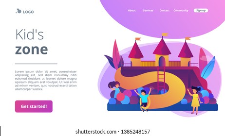 Happy children playing outdoors on playground with slides, balls and tubes, tiny people. Kids playground, kids zone, playground for rent concept. Website homepage landing web page template.