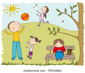 Happy children playing outside in the park, one boy  is sad and alone, sitting on the bench under the tree - original hand drawn illustration