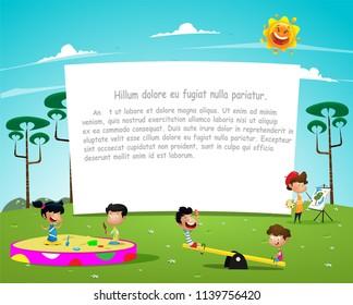 Happy children playing in playground illustration. Vector