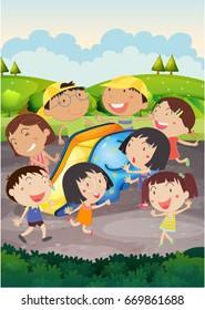 Happy children playing slide in park illustration