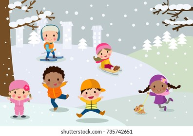 Happy children playing in snow