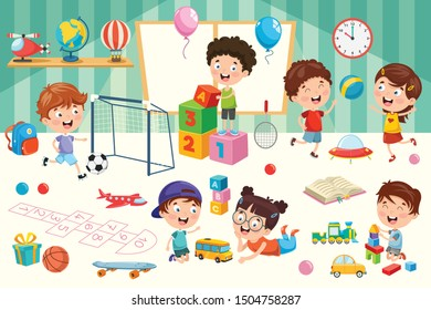 Happy Children Playing With Toys