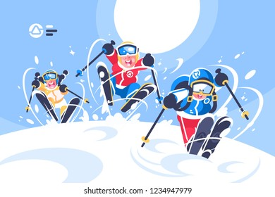 Happy children skiing flat poster. Cartoon smiling kids ski running in snowy mountain vector illustration. Winter sports at holidays. Blue sky and sun on background