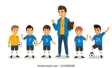Happy children soccer football team player in blue jersey and coach. Cartoon vector illustration isolated on white background
