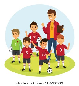 Happy children soccer football team player in red jersey and coach. Cartoon vector illustration isolated on white background