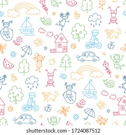 Happy children in summer park. Funny small kids play, run and jump. Color seamless pattern in childish doodle style. Hand drawn vector illustration on white background