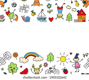Happy children in summer park. Funny small kids play, run and jump. Color background in kid doodle style. Hand drawn vector illustration